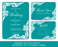 Wedding invitation cards set with thai painting. Elements Royalty Free Stock Photos