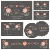 Wedding invitation cards set Stock Photography
