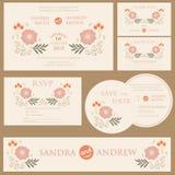 Wedding invitation cards set Royalty Free Stock Photography
