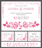 Wedding invitation cards set.Watercolor pink flowers,numbers vector illustration
