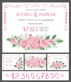 Wedding invitation cards set.Watercolor pink roses,numbers Royalty Free Stock Images