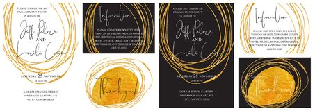 Wedding invitation cards with golden hand drawn texture background and gold line design vector. Wedding invitation cards suit with golden hand drawn texture stock illustration