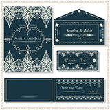 Wedding invitation cards, tag and envelope, wedding set elegant Royalty Free Stock Photography