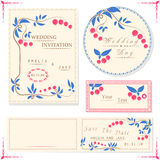 Wedding invitation cards and tag, wedding set with berry Royalty Free Stock Photography