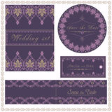 Wedding invitation cards and tag wedding set elegant lace design Stock Images