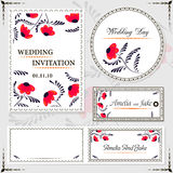 Wedding invitation cards and tag, wedding set red flowers Royalty Free Stock Images
