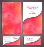 Wedding invitation cards template. With abstract polygonal background. Vector illustration Stock Photo