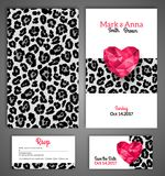 Wedding invitation cards template with abstract. Polygonal heart. Leopard print. Vector illustration Royalty Free Stock Photo