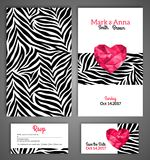 Wedding invitation cards template with abstract. Polygonal heart. Zebra print. Vector illustration Stock Photography