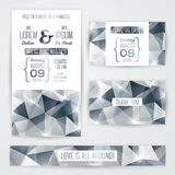 Wedding invitation cards template with abstract. Vector illustration. Vintage wedding concept. Typographic elements Royalty Free Stock Images