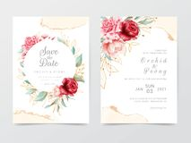 Wedding invitation cards template with flowers frame and watercolor background. Textured golden glitter decoration