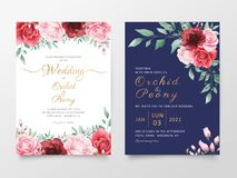 Wedding invitation cards template set with watercolor flowers decoration. Save the date, invite or greeting, poster