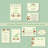 Wedding  invitation cards with watercolor elements Stock Photography