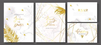 Wedding invitation cards with watercolor texture,beads,hand-drawn flowers and plants,geometric shapes and Golden sequins royalty free illustration