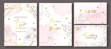 Wedding invitation cards with watercolor texture,hand-drawn flowers and plants,geometric shapes and Golden sequins stock illustration