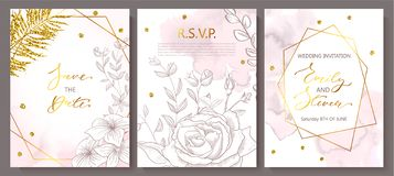 Wedding invitation cards with watercolor texture,hand-drawn flowers and plants,geometric shapes and Golden sequins royalty free illustration