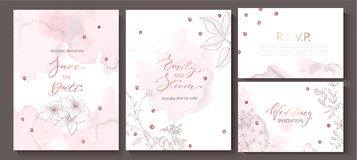 Wedding invitation cards with watercolor texture,hand-drawn flowers and plants,geometric shapes and sequins.Vector stock illustration