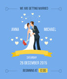 Wedding invitation with cartoon bride, groom Royalty Free Stock Photography