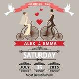Wedding invitation.Cartoon bride groom on retro bike. The wedding invitation with Cartoon bride groom on retro bike with vignettes,ribbon,pigeons.A design Stock Photo