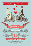 Wedding invitation.Cartoon bride, groom,retro bike Stock Photo