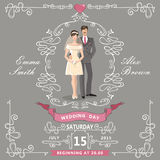 Wedding invitation.Cartoon bride,groom,Swirl Stock Images
