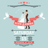 Wedding invitation with cartoon bride and groom. The wedding invitation to the groom and bride in retro style with vignettes,ribbon,pigeons.A design template.The Stock Images
