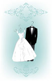 Wedding invitation with cartoon dress of bride and groom Stock Photos