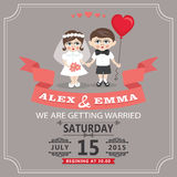 Wedding invitation with cartoon European baby bride and groom Stock Images