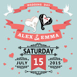Wedding invitation with cartoon hearts.Retro Stock Photography