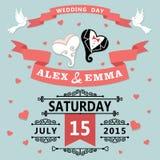 Wedding invitation with cartoon hearts.Retro Stock Photography