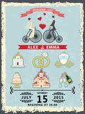 Wedding invitation with cartoon icons,groom and bride Royalty Free Stock Photo