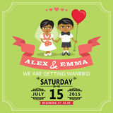 Wedding invitation with cartoon Indian baby bride and groom
