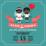 Wedding invitation with cartoon mulatto baby bride and groom Royalty Free Stock Images