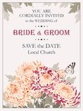 Wedding invitation with chrysanthemums Stock Photos
