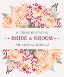 Wedding invitation with chrysanthemums Stock Photo
