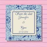 Wedding invitation classic blue colros on wooden background Royalty Free Stock Images