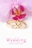 Wedding invitation. Close-up of wedding rings on background of orchid Stock Photography