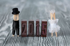 Wedding invitation. 2015 Clothespins abstract family Stock Photo