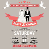 Wedding invitation with clothing groom and bride.R Royalty Free Stock Photos