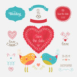 Wedding invitation collection. With heart, birds, hand drawn elements. Vector illustration for design with love Stock Photography