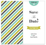 Wedding invitation with colored stripes, romantic stock illustration