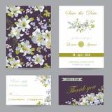 Wedding Invitation or Congratulation Card Set Stock Photos