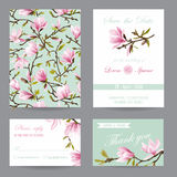 Wedding Invitation. Congratulation Card Set. Save the Date. Magnolia Flowers. Vector Postcards Royalty Free Stock Photography