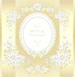 Wedding invitation or congratulation  in gold Stock Photos
