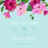 Wedding Invitation Congratulation with Purple Hibiscus Flowers. Save the Date Floral Card for Greetings, Anniversary. Birthday. Botanical Design. Vector Stock Images