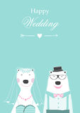 Wedding invitation with cute bears ,cards,poster,template,greeting cards,animals,bear,Vector illustrations Stock Images