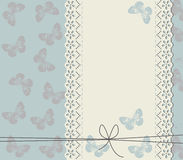 Wedding invitation with cute butterflies.  Stock Image