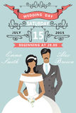 Wedding invitation. Cute cartoon bride and groom Stock Photos