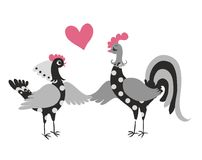 Wedding invitation with cute cartoon cock and hen. Year of the rooster. 2017. Chinese zodiac. Greeting card. Vector image Royalty Free Stock Photos
