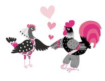 Wedding invitation with cute cartoon cock and hen. Year of the rooster. 2017. Chinese zodiac. Greeting card. Vector image Stock Images